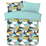 Dreamscene Geometric Shapes SINGLE Duvet Cover with Pillowcase Reversible Bedding Set, Blue Yellow...