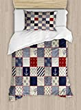 HUNKKY Geometric Duvet Cover Set, Checkered Pattern with Pale Nautical Design Elements Grunge...