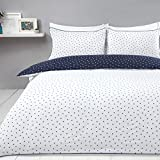 Sleepdown Mini Polka Dots Navy White Reversible Easy Care Duvet Cover Quilt Bedding Set with...