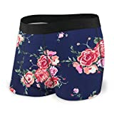 Rose Navy Floral Custom Men's All-Over Print Boxer Briefs Underwear-2H