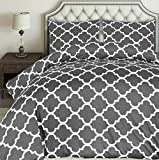 Utopia Bedding Printed Duvet Cover Set - Brushed Microfibre Duvet Cover with 2 Pillowcases (Grey,...