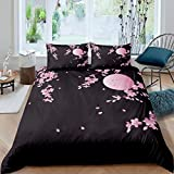 Loussiesd Cherry Blossoms Duvet Cover Japanese Style Comforter Cover Pink Moon Flowers Bedding Set...