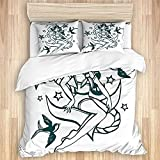 LOSNINA Washed Cotton Duvet Cover Set,Pin-up Girl Nautical Sailor Suit Surrounded by Swallow Birds...