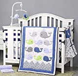 Brandream Boys Blue Crib Bedding Set Ocean Animal Nursery Bedding Whale Baby Comforter 7 Pc Nautical...