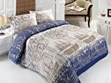 Nautical Bedding, Bedspread Set, Ship, Compass, and Birds Themed, 200x220 cm, 3 Pcs
