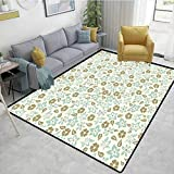 Bigdatastore Retro Nautical Area Rug Bedroom, Spring Meadow Inspired Pattern with Tulips Daisies...