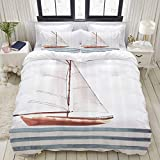 MOBEITI Duvet Cover Set,Nautical et Your Dreams Sail Words with Boat in Waves Motivation Lifestyle...