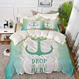 bedding - Duvet Cover Set ,Nautical,Anchor Icon Illustration Striped Two Colored Background...
