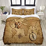 Duvet Cover,Wood Airplane Over World Nautical map as Travel and Explore 3D,Bedding Set Ultra Comfy...