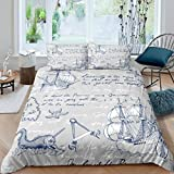 Nautical Theme Compass Duvet Cover Ocean Voyage Sailboat Comforter Cover For Kids Adults Retro...