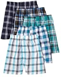 Fruit of the Loom Men's Tartan Woven Boxer - Colors May Vary, Assorted Plaid, Large(Pack of 5)