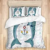 Duvet Cover,Narwhal Couple of Whales with Horns in Love Valentines Day Themed Nautical...