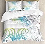 VORMOR Octopus Duvet Cover Set,Octopus and Jellyfish Illustration Nautical Themed Art Underwater...