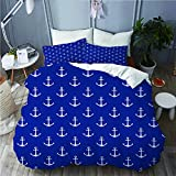 ALLMILL Nautical Pattern with Classic Colors and Anchors Simplistic Design Sailor Ship Print,College...