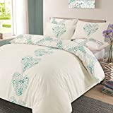 Dreamscene Duvet Cover with Pillow Case Reversible Lizzie Hearts Bedding Set Duck Egg Blue - King