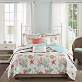 D&H 6 Piece Vibrant Orange Pink Blue White King Quilt Set, Coral Tourquoise Teal Starfish Beach...