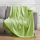 VEEYOO Green Throw Blanket for Couch, Green Striped Knit Throw Blanket with Tassels, Decorative Soft...