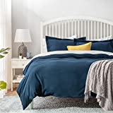 Bedsure Duvet Cover Double Size - 3 pcs Brushed Microfiber Bedding Set with 2 Pillowcases, Navy,...