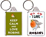 2 x Robins/Robin Keyrings - I Love & Keep Calm - Double Sided Large Keyring Name Tag Key Ring...