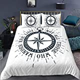 Loussiesd Nautical Comforter Cover Single Size Compass Duvet Cover Set Voyage Theme Bedding Set with...