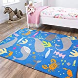 Sealife Animal Fish Whale Grey Blue Under The Sea Nautical Colourful Kids Childrens Floor Play Area...