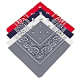 4 Paisley Bandanas Navy Blue, White, Gray, Red Including Gold/Teal/Black Temporary Tattoos !