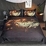 Bling Gold Whale Bedding 3 Piece Underwater Wildlife Inspired Duvet Cover Boys Adults Nautical...