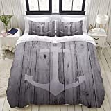 Luoquan 3 Piece Duvet Cover Set Ultra Soft Bedding Set,Nautical Anchor Rustic Wood Striped,2...