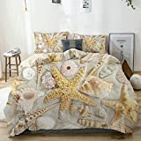 Duvet Cover Set Beige,Assorted Seashells in Sandy Beach Summer Vacation Nautical Theme Coastal...