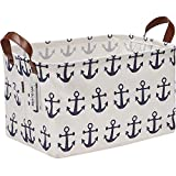 Sea Team Large Size Canvas Storage Bin Collapsible Shelf Basket Toy Organizer with Nautical Anchor...