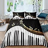 Piano Pattern Comforter Cover Classic Music Themed Bedding Set for Boys Girls Children Musical...
