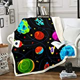 Boys Fleece Blanket Cartoon Universe Planet Sherpa Blanket for Chair Sofa Couch Outer Space Themed...