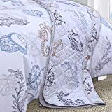 Nimsay Home Seafarer Nautical Seashells Compass 100% Cotton Quilted Bedspread 265 x 265 cm