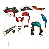 Fun Express Pirate Photo Booth Props   Stick Paper Accessories   12 Count   Great for Birthday Bash,...