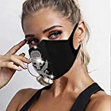 Edary Glitter Mask Masquerade Rhinestone Face Masks Shiny Skull Clubwear Mouth Covers Dust-proof and...