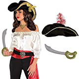 LADIES PIRATE COSTUME - SILKY IVORY PIRATE'S BLOUSE + BLACK PIRATE HAT WITH GOLD TRIM AND RED...