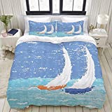 MOBEITI Duvet Cover Set,Sailboat Nautical Grunge Style Illustration of Two Racing Sailboats in A...