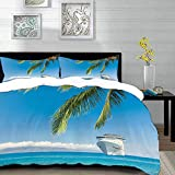 bedding - Duvet Cover Set ,Nautical Large Cruise Ship Heads to The Tropical Sandy Beach Exotic...