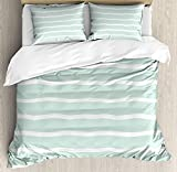 YnimioHOB Mint Duvet Cover Set, Horizontal Wavy Lines White Striped Abstract Soft Toned Nautical Art...