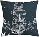 BONRI Marine Throw Pillow Cushion Cover, Nautical Knot Compass Anchor Pattern Sea World Ocean Life...