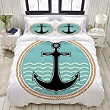 TARTINY Duvet Cover Set, Nautical Symbol with Wavy Ocean Background and Anchor Silhouette Naval...