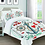 226 MILAIDI Collection of Nautical in Circle Shape There are Lighthouse Seagull Sailboat,Quilt Cover...
