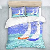 TARTINY Sailboat Nautical Grunge Style Illustration of Two Racing Sailboats in A Windy Ocean Water...