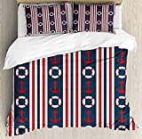 HUA JIE Gray Duvet Cover Nautical Duvet Cover Set, Vertical Borders Stripes Maritime Theme Steering...