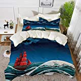 bedding - Duvet Cover Set ,Sailboat Nautical Decor,Vintage Vessel Sailing in Stormy Weather at Dark...