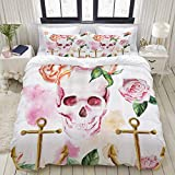 MOBEITI Duvet Cover Set,Skull Nautical Anchor with Victorian Roses Peonies Vintage Art Design...