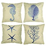 Luxbon Set of 4 Pcs Nautical Themed Seaside Cushion Covers 18x18 Seahorse Coral Starfish Seaweed...
