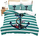 Teal Anchor Duvet Cover Set King Size, Kids Nautical Anchor Bedding Set with Coral Starfish...