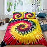 Boho Psychedelic Duvet Cover Red Yellow Tie-Dye Bedding Set for Kids Boys Girls Watercolor Art...