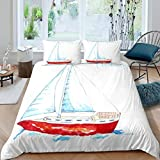Nautical Duvet Cover Set Boys Kids Teens,Watercolor Style Bedding Set for Girls Child...